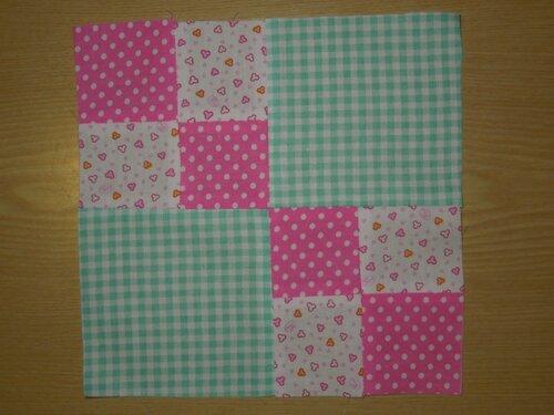 """Лоскутное шитьё № 1: двойной блок """"2 х 2"""" квадрата, лоскутная подушка + конверт для шаблонов"""