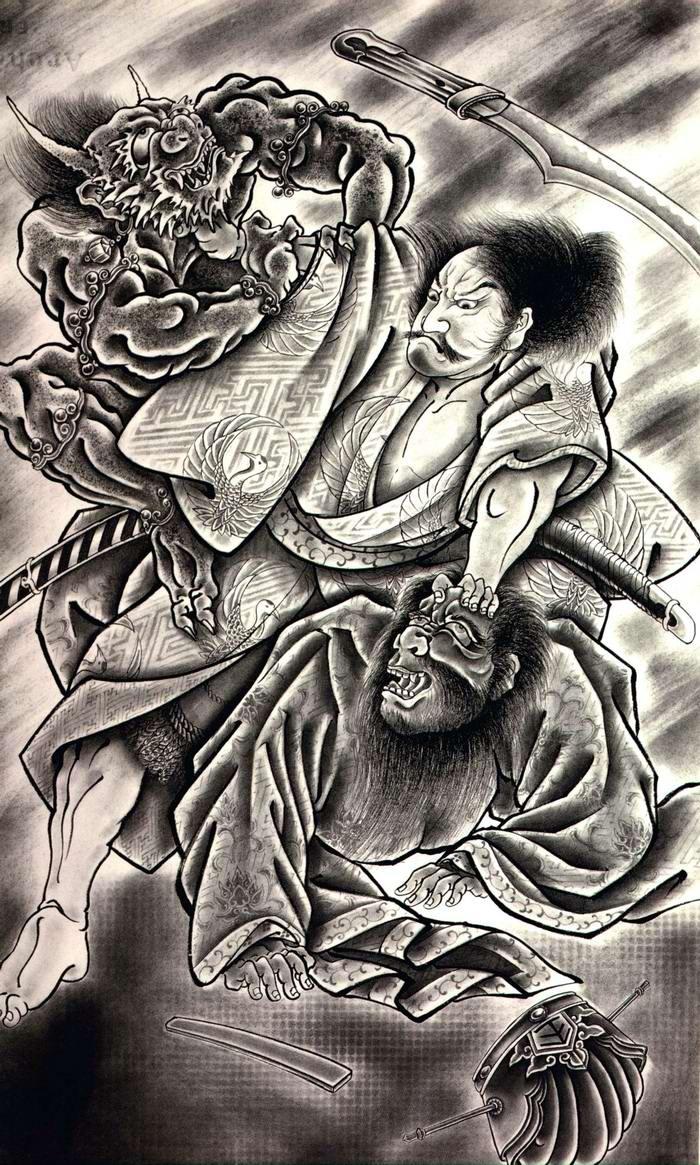Злобные демоны на эскизах татуировок японского художника Horiyoshi (48)