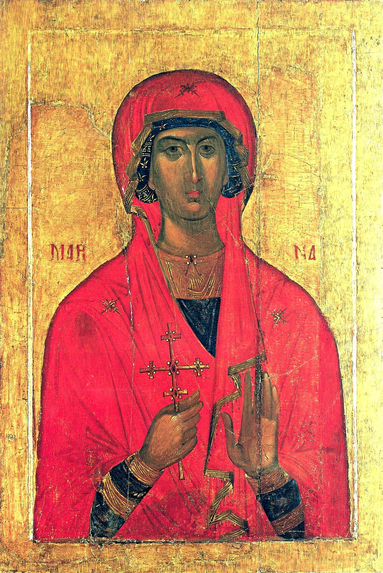 Святая Великомученица Марина (Маргарита) Антиохийская. Икона. Византия, конец XIV - начало XV в. Византийский музей, Афины.