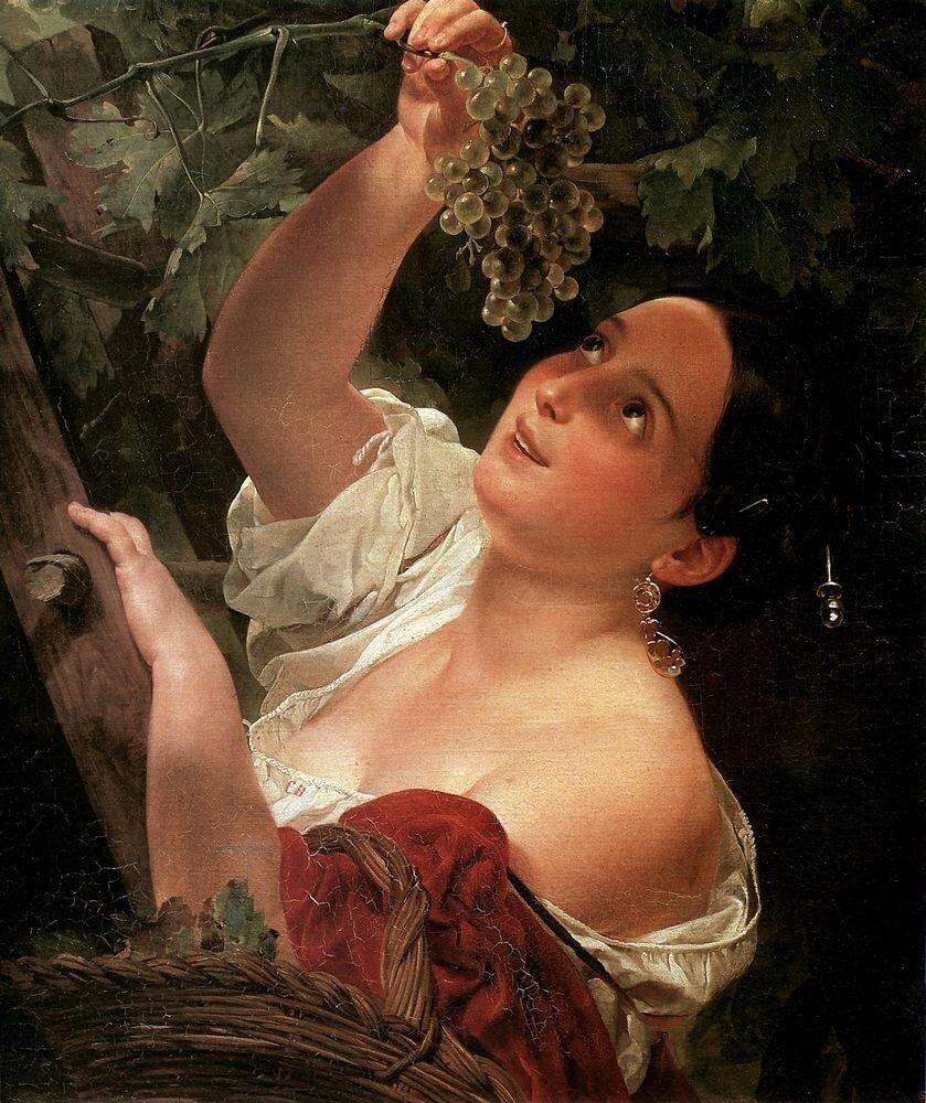 Итальянский полдень ( Итальянка, снимающая виноград ). 1827.jpg