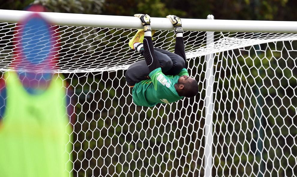 Вратарь сборной Кот-д Ивуара разминается на воротах, Бразилия, 9 июня 2014.jpg