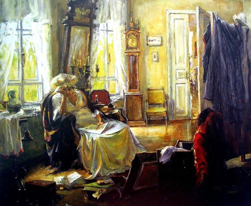 + Картина К. Федотова, 1997 год. Тарханы. Печальные вести.jpg