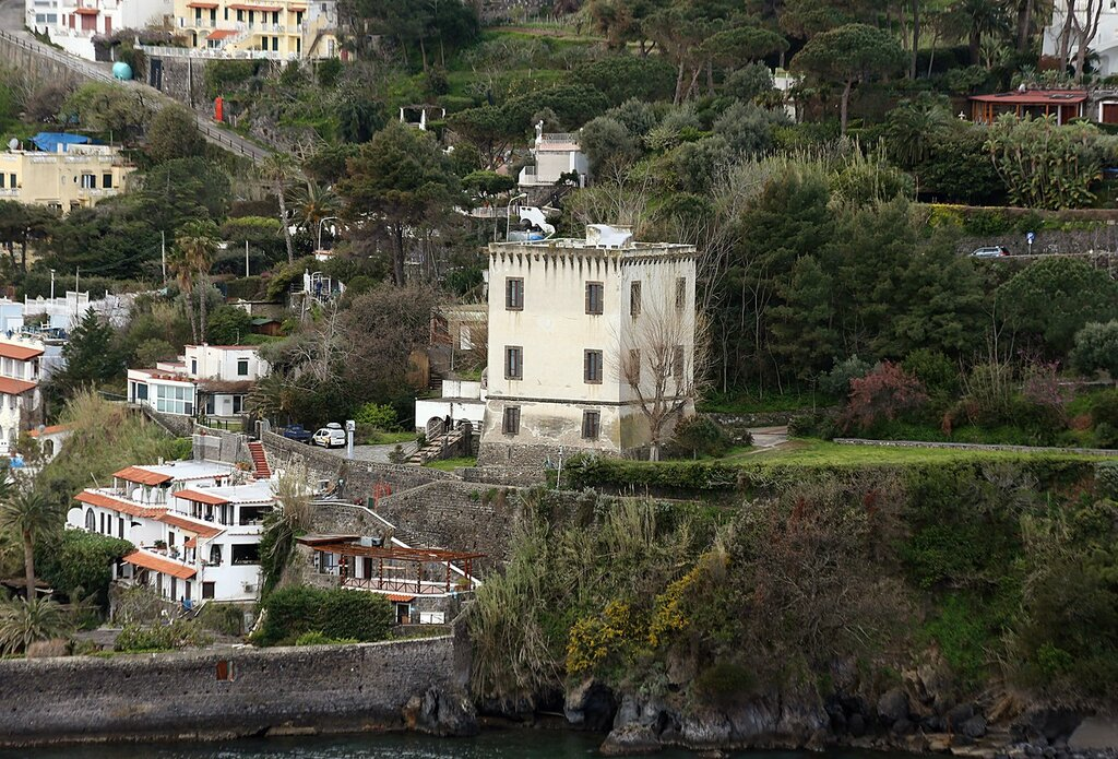 Ischia. The views from the monastery terraces of the Aragonese castle. Tower of Michelangelo.