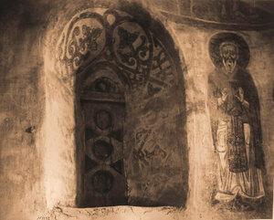 Вид окна и слюдяной рамы (XII в.) церкви Спаса-Нередицы. Новгород г., близ Новгорода