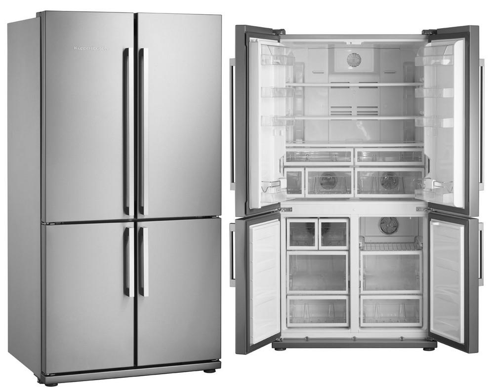 серебристый двухдверный холодильник Германия