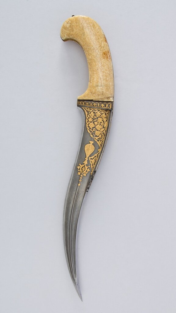 Dagger (Pesh-kabz), 17th centuryNorth Indian, Steel, gold, ivory (walrus); L. of blade 10 1/2 in. (26.7 cm)The Metropolitan Museum of Art, New York, Bequest of George C. Stone, 1935 (36.25.721)http://www.metmuseum.org/Collections/search-the-collec