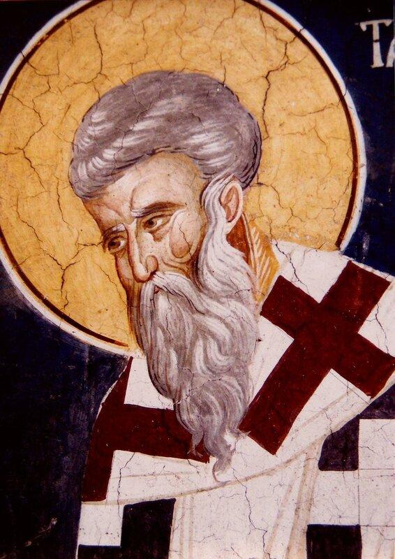 Святитель Тарасий, Патриарх Константинопольский. Фреска монастыря Высокие Дечаны, Косово, Сербия. Около 1350 года.