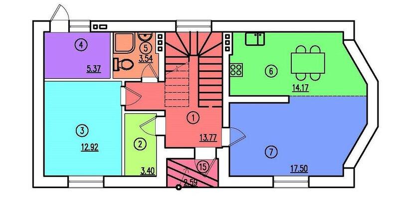 Проект частного дома. План 1-го этажа
