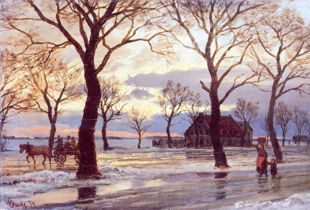Hans Gude--Vinterscene--1874..jpg