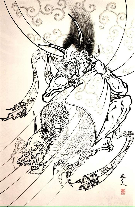 Злобные демоны на эскизах татуировок японского художника Horiyoshi (15)