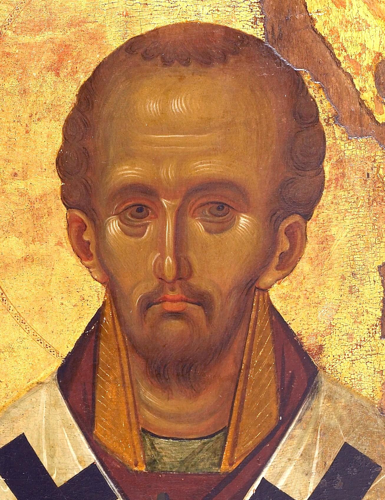 Святитель Иоанн Златоуст, Архиепископ Константинопольский. Византийская икона в монастыре Ватопед на Афоне. Фрагмент.