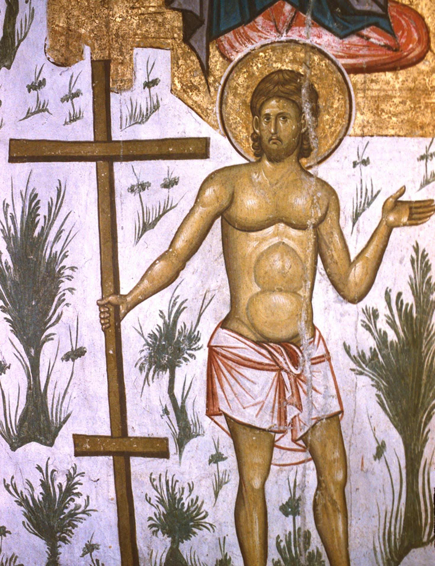 Благоразумный разбойник. Фреска монастыря Высокие Дечаны, Косово, Сербия. Около 1350 года.