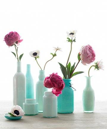 декоративные бутылки для декора интерьера бирюзовых цыетов