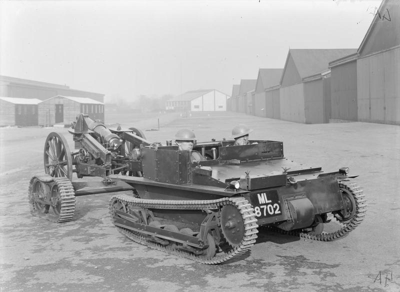 Carden-Loyd Mk VI Mortar Carrier with trailer and 3.7 inch QF Howitzer Mk I