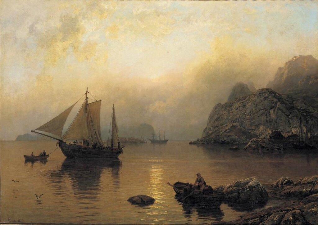 Hans Gude - Fiske partiet på soloppgang (1873)..jpg