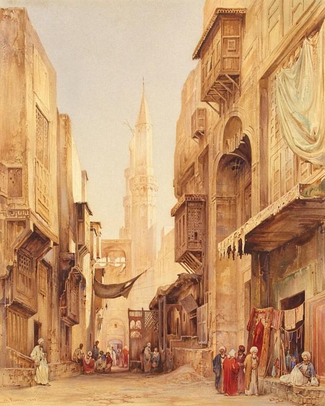 Пьеррон Шарль, Улочка турецкого города с курильней, Франция, 1843, 39,5x32см, Эрмитаж