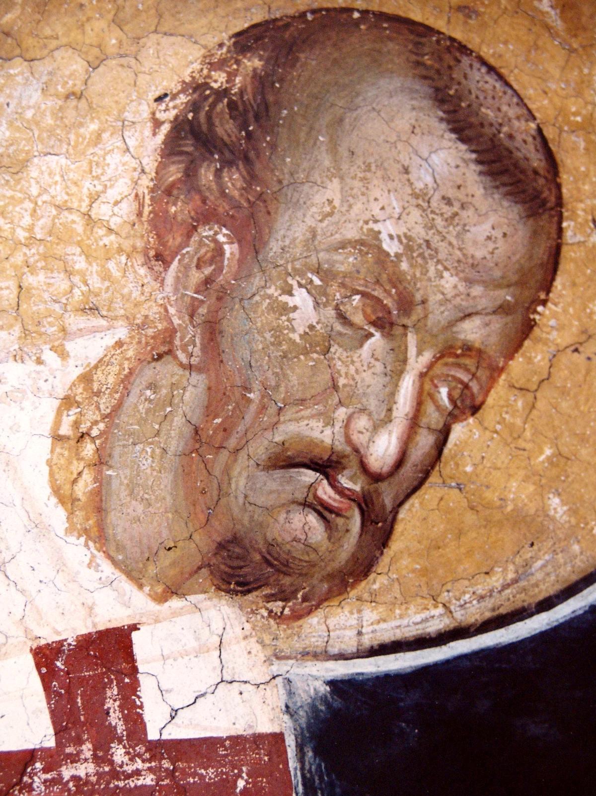 Святитель Иоанн Златоуст, Архиепископ Константинопольский. Фреска монастыря Высокие Дечаны, Косово, Сербия. Около 1350 года.