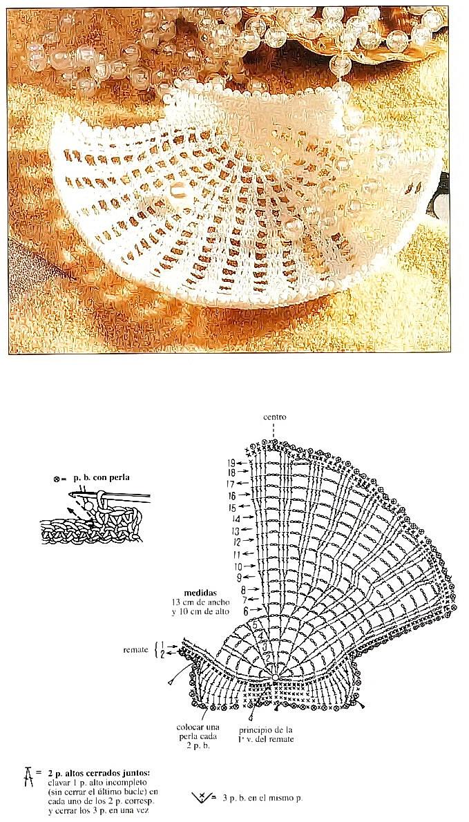 схема для вязанья крючком морской ракушки гребешок и фото готового изделия