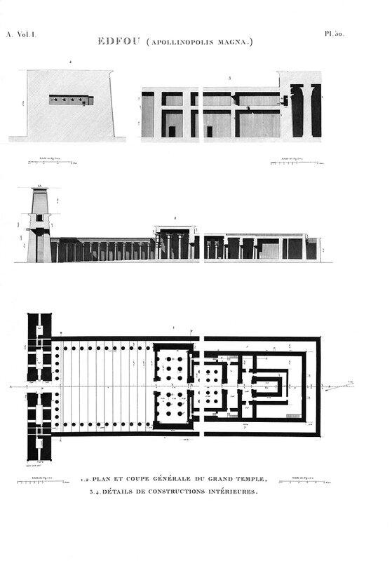 Храм Эдфу, план и разрезы