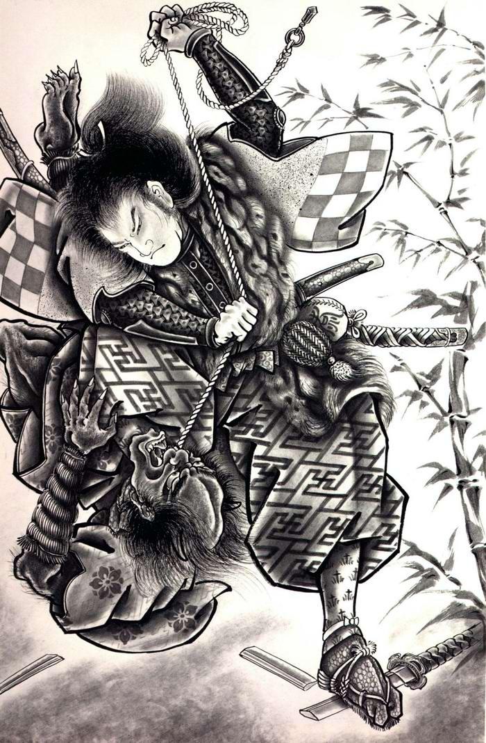 Злобные демоны на эскизах татуировок японского художника Horiyoshi (36)