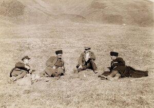 Музахан на привале с тремя сванами