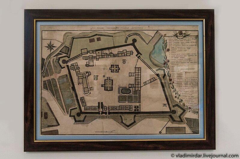 Ф.И. Кампорези. План Троице-Сергиевой лавры. Около 1800 года.  Бумага, офорт, акварель.