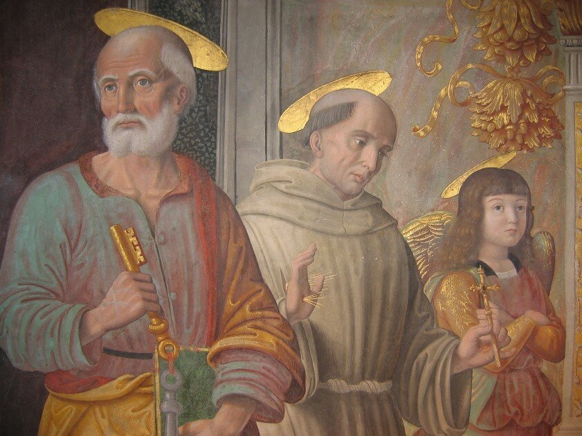 Cagli_-_Cappella_Tiranni_-_San_Pietro,_San_Francesco,_angelo_-.jpg