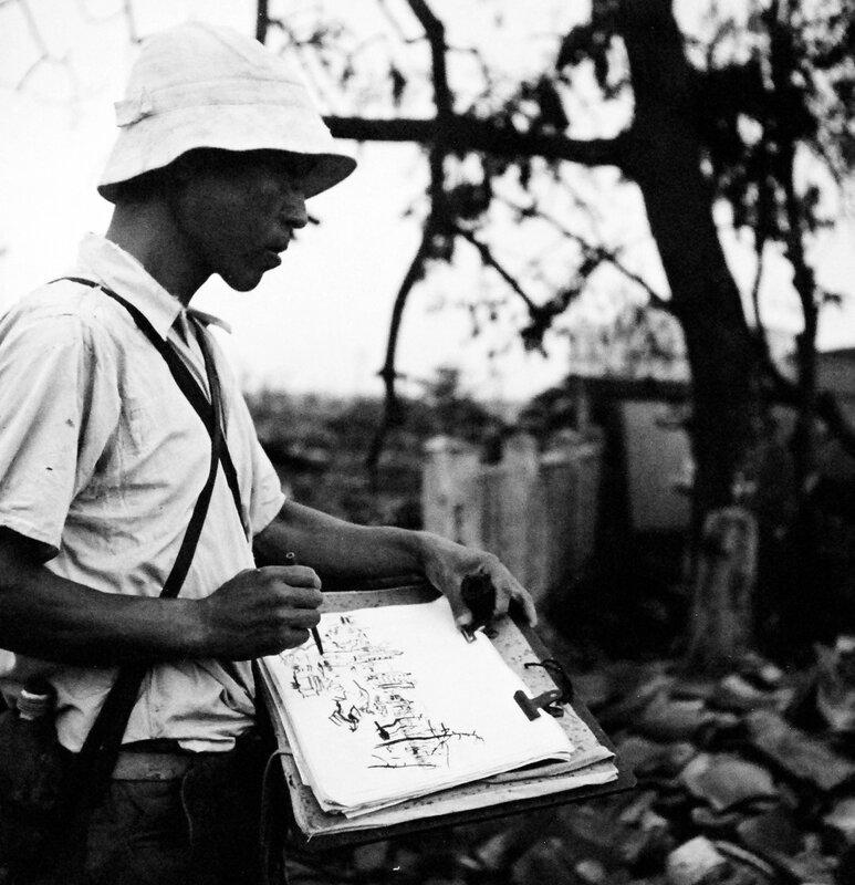Japanese artist sketches results of the Hiroshima, Japan, atomic bomb blast. September 1945