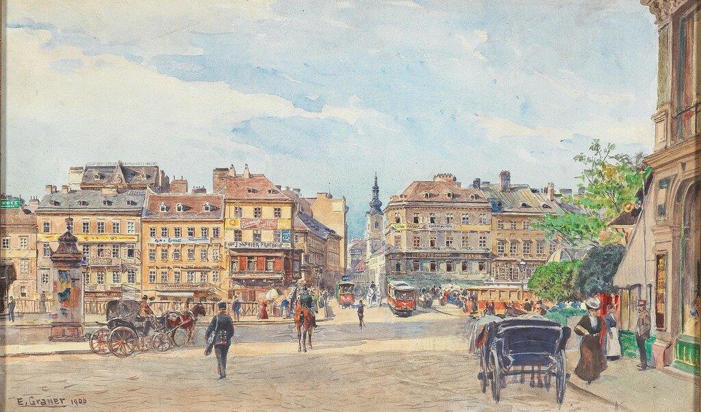 Ernst Graner (Werdau, Sachsen 1865-1943 Wien) Donaukanal mit Ferdinandsbrücke und Blick in die Taborstraße