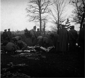 28. 1914. Разделка мяса для полевой кухни Гроховского полка. Голишовец, Галиция