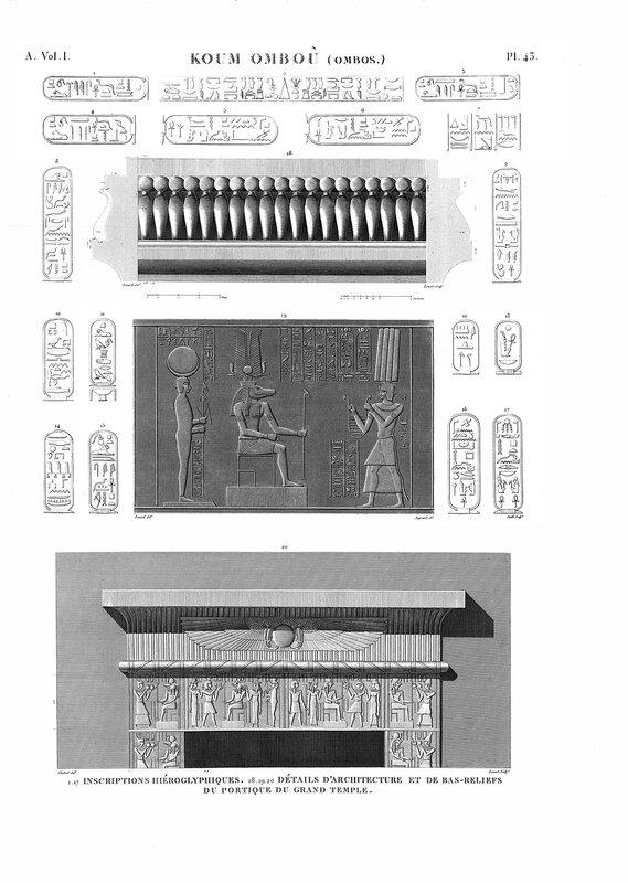 Барельефы большого храма в Ком-Омбо, гравюра