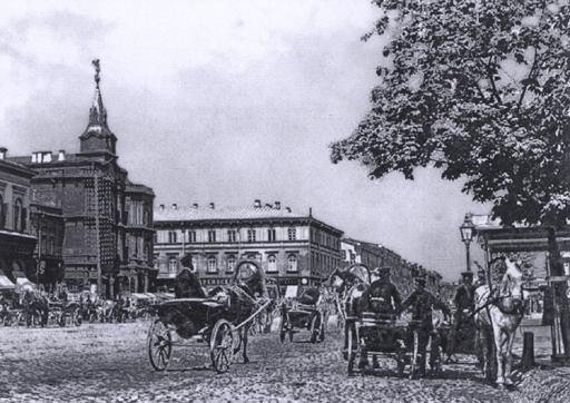 На Крещатике располагалась самая крупная извозчичья биржа. Фото 1891 года