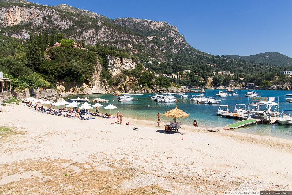 Палеокастрица, пляж, море, лодки