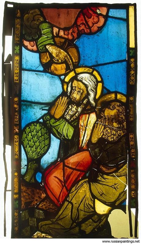 Витраж Воскрешение пророков, Германия, Конец XIV в., 84х48 см, Эрмитаж