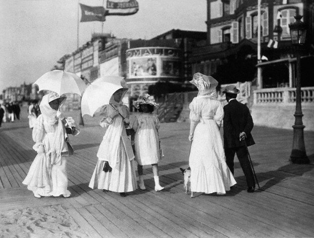 Woman Walk Along the Promenade at Trouville