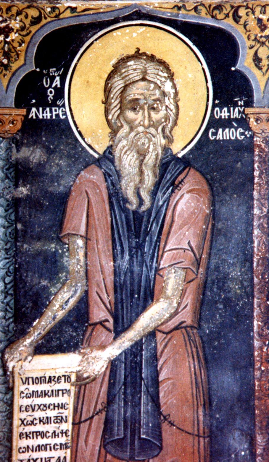 Святой Блаженный Андрей Константинопольский, Христа ради юродивый.