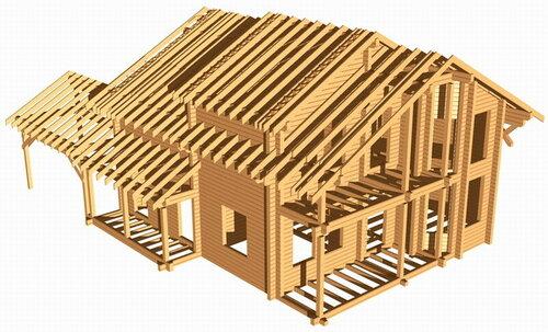 Строительство дома из клееного бруса.
