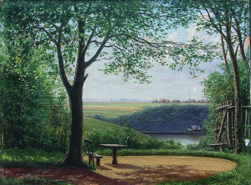 Летний день. Скамейка в тени дерева 1870-е Частное собрание.jpg