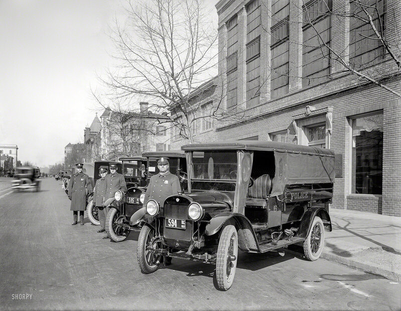 January 1922. Three REO 'speed wagons' delivered by Trew Motor Co. to the D.C. Police Department for patrols