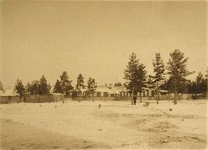 Старое здание лазарета, уничтоженное пожаром 27 декабря 1908 г., общий вид