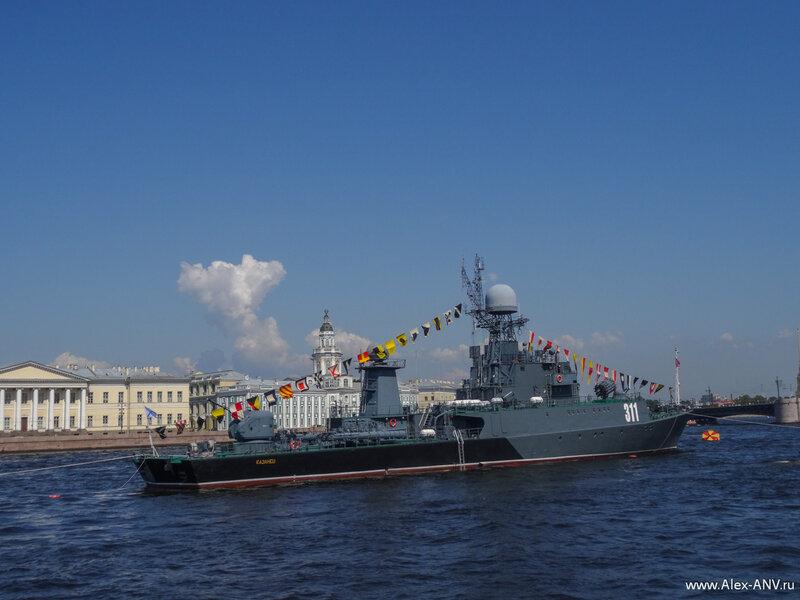 МПК Казанец на фоне Дворцового моста и здания Кунсткамеры.