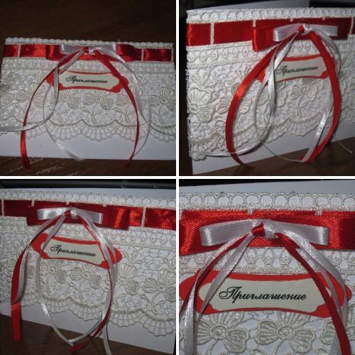 Свадебное приглашение в красно-белых тонах