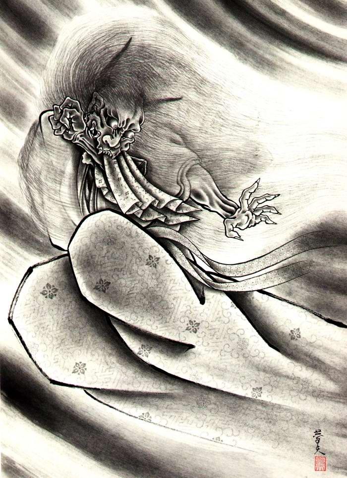 Злобные демоны на эскизах татуировок японского художника Horiyoshi (39)