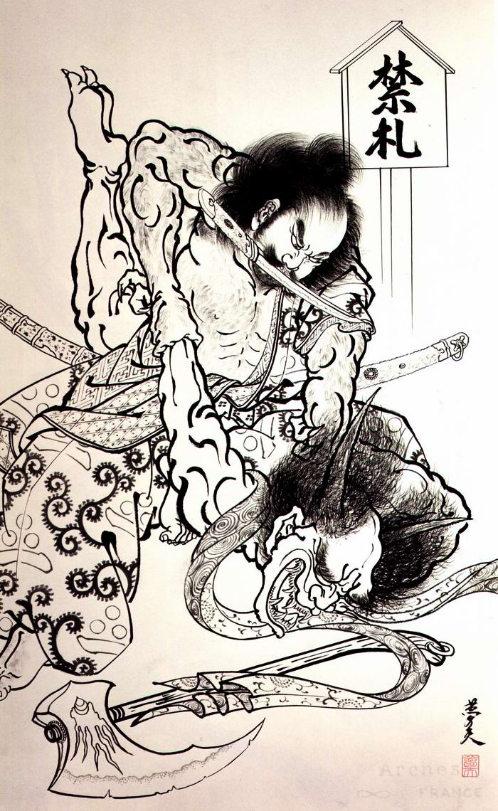 Злобные демоны на эскизах татуировок японского художника Horiyoshi (45)