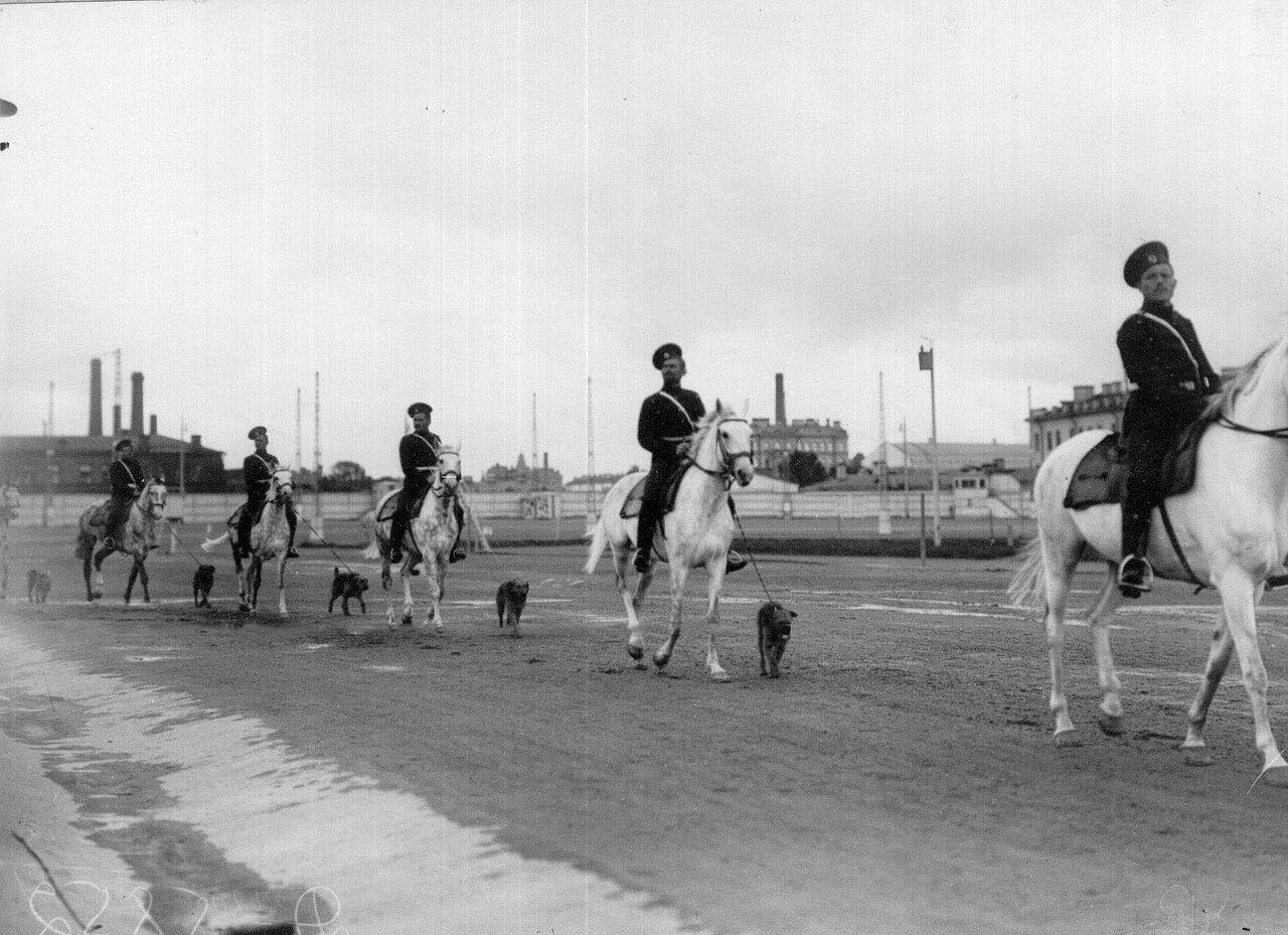 03. Юнкера на конях с собаками на поводках проходят мимо трибун