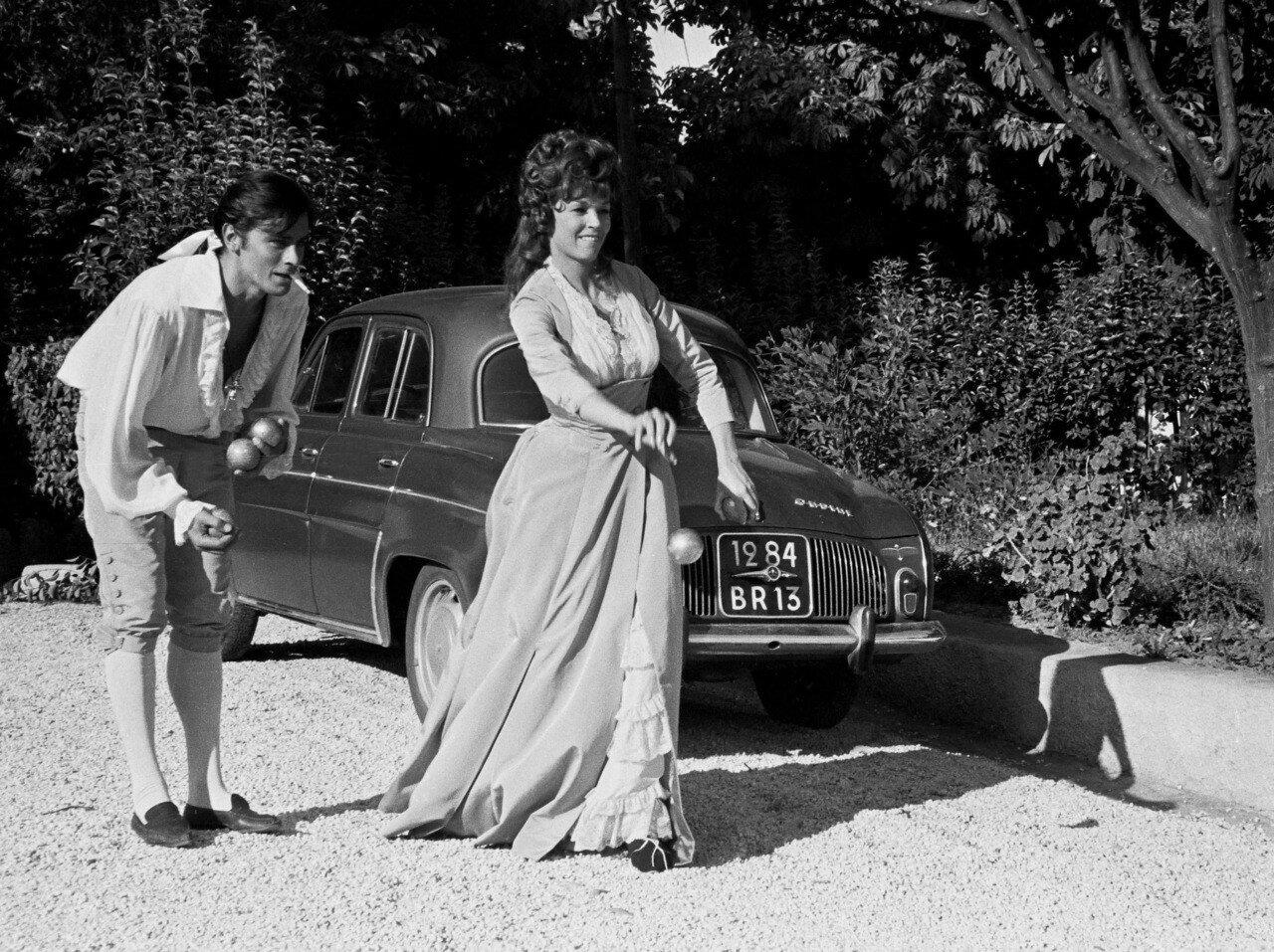 1963. Делон с Доун Аддамс на съемках фильма «Чёрный тюльпан»