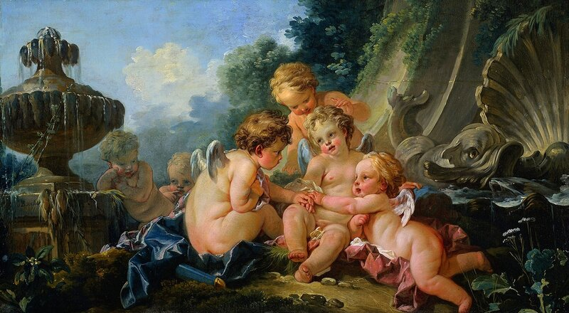 François Boucher, European; French, 1703 - 1770, (artist)  Title Cupids in Conspiracy  Work Type Paintings  Date 1740s  Material oil on canvas  Measurements Unframed: 68.8cm x 123.2cm  Description Signed left: