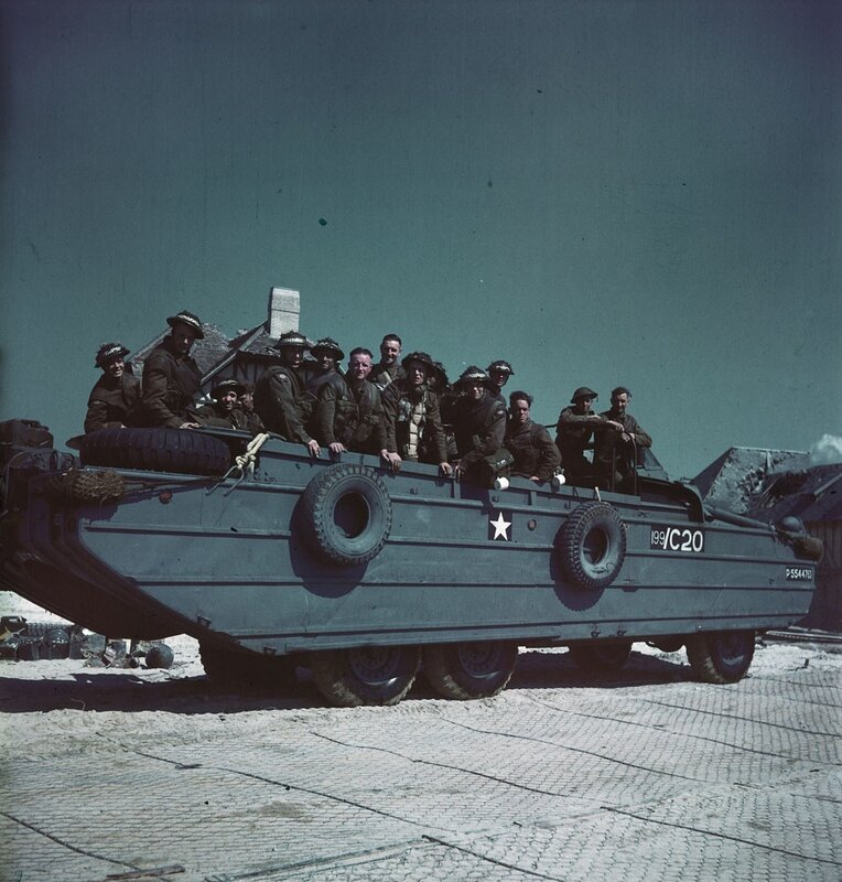 Canadian soldiers on a DUKW amphibian on the Normandy coast june 1944