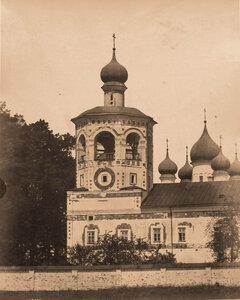 Вид колокольни Николо-Вяжищского монастыря (постройка к.XVII в.). Новгород г., близ Новгорода