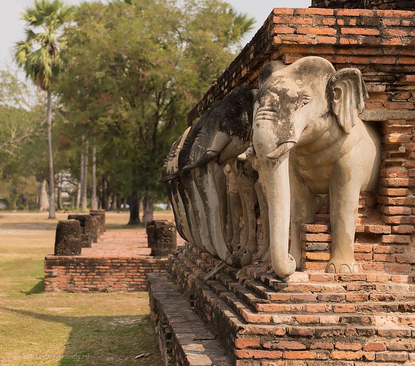 Фотография 28. Слоны ступы Wat Chang Lom. Поездка на автобусе на север Таиланда.